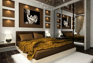 Contemporary Master Bedroom with Chandelier, Laminate floors, Fur Accents New Thick Shaggy Shag Large Area Carpet