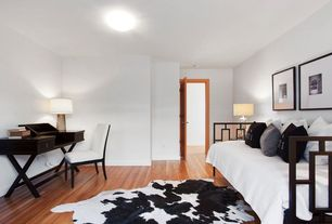 Contemporary Guest Bedroom with Hudson parsons upholstered side chair, Black and white 50/50 cowhide rug, flush light