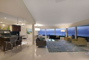 Modern Great Room with Paint 1, Columns, Standard height, Pendant light, Built-in bookshelf, sliding glass door, can lights