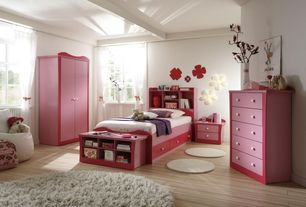 Contemporary Kids Bedroom with Laminate floors, Wall sconce, Mural, High ceiling, Exposed beam, no bedroom feature, Casement