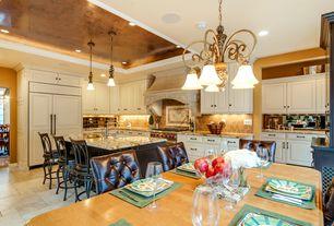 Traditional Kitchen with Breakfast bar, Pendant light, Stone Tile, Raised panel, Custom hood, Complex granite counters, Flush