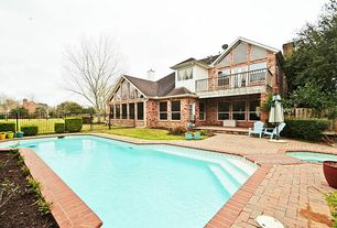 Traditional Swimming Pool with Pool with hot tub, Raised beds, exterior brick floors, Fence