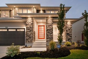 Contemporary Front Door with Pathway, exterior tile floors, Glass panel door, Barn door