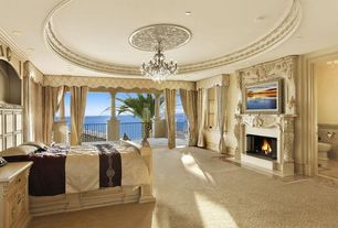 Traditional Master Bedroom with Cement fireplace, Built-in bookshelf, Crown molding, Fireplace, Paint, Standard height