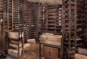 Contemporary Wine Cellar with Transom window, specialty door, Hardwood floors, Standard height, can lights