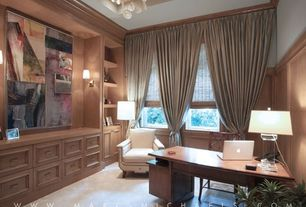 Traditional Home Office with Chandelier, High ceiling, Crown molding, Wall sconce, Built-in bookshelf, Carpet