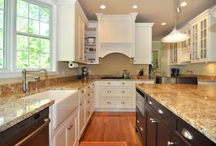 Traditional Kitchen with keurig, Casement, Built-in bookshelf, can lights, Ms international golden riviera granite, L-shaped