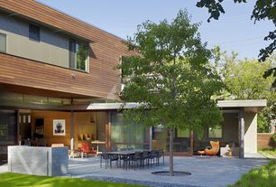 Contemporary Patio with Fence, Pathway, Outdoor kitchen, exterior tile floors