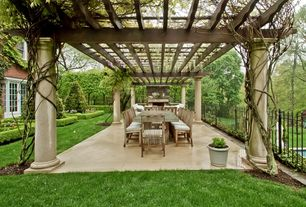Traditional Patio with Trellis, double-hung window, exterior stone floors, French doors, Fence, Paint