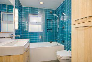 Modern Full Bathroom with Wall Tiles, specialty door, shower bath combo, tiled wall showerbath, double-hung window, Full Bath