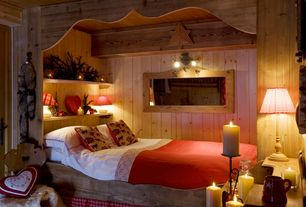 Country Guest Bedroom with Built-in bookshelf, The Country Porch Newbury Gingham Barn Red Washer Lampshade, Wall sconce