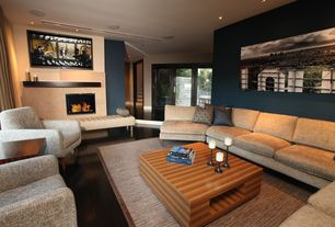 Contemporary Living Room with Home Dynamix Sisal Border Tan Area Rug, West Elm Everett Chair, Hardwood floors