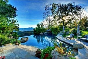 Rustic Swimming Pool with exterior stone floors, Pathway, Infinity pool
