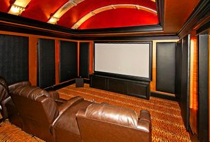 Asian Home Theater with Crown molding, High ceiling, interior wallpaper, Carpet