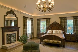 Traditional Master Bedroom with Chandelier, Woodbridge Home Designs Deryn Park Sleigh Bed, Sagehill Barrister Framed Mirror