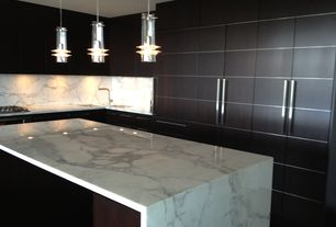 Contemporary Kitchen with Ms international - calacatta classic marble, Kitchen island, Complex marble counters, Flush
