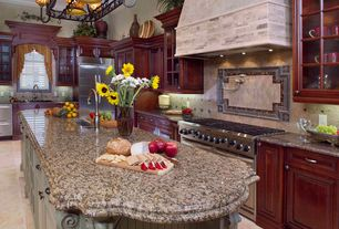 Traditional Kitchen with Stone Tile, Sandstone Tile, L-shaped, Chandelier, Undermount sink, Raised panel, Kitchen island