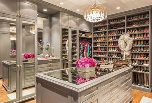 Contemporary Closet with Crystal Shower and Chrome trip Recessed Lighting, Closet Factory Custom Walk-In Closet, Chandelier
