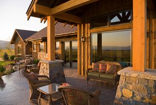 Country Patio with picture window, sliding glass door, exterior stone floors, Pathway