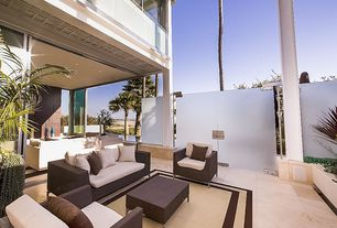 Contemporary Patio with picture window, exterior tile floors, French doors, exterior concrete tile floors