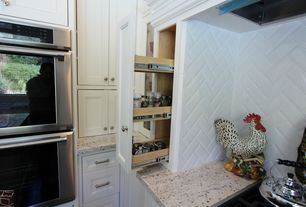 Contemporary Kitchen with Herringbone tile backsplash, Subway Tile, Pantry pullout, MS International Colonial Gold Granite
