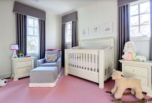 Traditional Kids Bedroom with Crown molding, Window cornice, Formal drapery, End table, Letter lamp, Carpet, Crib, Valence