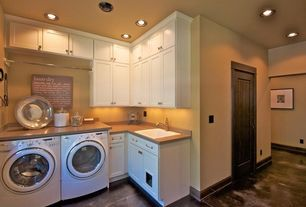 Country Laundry Room with laundry sink, flat door, can lights, complex marble tile floors, Hanging Bar, Standard height