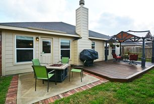 Contemporary Deck with Gazebo, Outdoor kitchen, Fire pit, Gate, Glass panel door, Fence