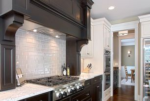 Traditional Kitchen with White subway tile, Viking - double wall oven, Wine refrigerator, Paint 1, Flush, can lights