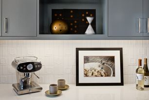 Modern Kitchen with One-wall, Limestone Tile, Silestone, Stone Tile, Lucca, Limestone counters, European Cabinets, Flush