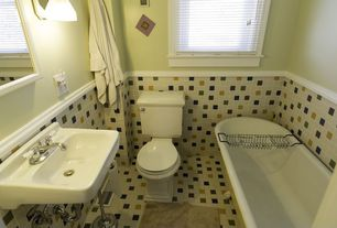 Traditional Full Bathroom with Wall mounted sink, Chair rail, ceramic tile floors, Wall sconce, Clawfoot
