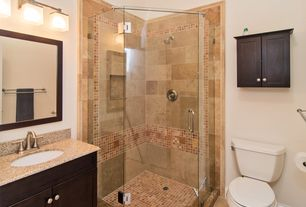 Modern 3/4 Bathroom with Pegasus granite vanity top in beige, High ceiling, Flat panel cabinets, Simple granite counters