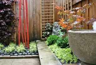 Asian Landscape/Yard with Buddha, Fence, Polished Black Garden Stones, Bird bath, Pathway, Lattice, exterior tile floors