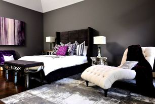 Contemporary Master Bedroom with Celia King Size Platform Bed - Tufted Headboard, Black, Nina Mirrored Bench, Hardwood floors