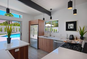 Modern Kitchen with Stainless undercount double size single sink, Nanawall - folding/sliding glass walls, Private pool, Flush