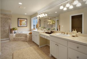 Traditional Master Bathroom with Jurastone beige polished limestone, Inset cabinets, framed showerdoor, Paint, Casement