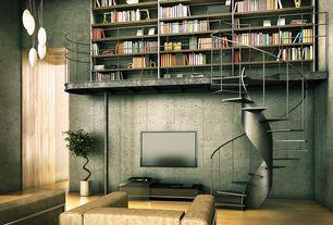 Contemporary Living Room with Loft, Hardwood floors, Pendant light, High ceiling, Built-in bookshelf