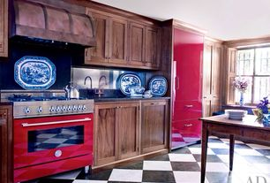 Eclectic Kitchen with Flush, Flat panel cabinets, One-wall, Undermount sink, Crown molding, Barrel design copper range hood