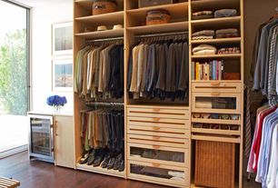 Contemporary Closet with Summit Refrigeration - Section Bar Refrigerator Swinging Glass Door, Built-in bookshelf