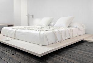 Modern Master Bedroom with Modloft Worth Upholstered Platform Bed, Hardwood floors