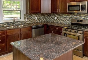 Modern Kitchen with Kitchen island, Daltile Mosaic Traditions Skyline Brick-Joint Mosaic, Flat panel cabinets, L-shaped