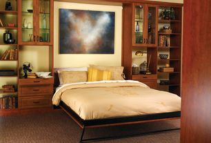 Contemporary Master Bedroom with Carpet, West Elm Antique Bronze Industrial Task Table Lamps, Built-in bookshelf