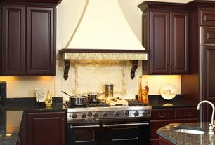 Mediterranean Kitchen with Raised panel, Standard height, Kitchen island, mexican tile backsplash, Simple granite counters