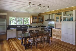 Country Kitchen with Hardwood floors, Antique stove, Inset cabinets, Farmhouse sink, L-shaped, flush light, Exposed beam