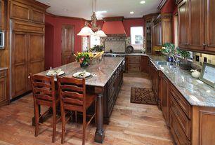 Traditional Kitchen with Kitchen island, Custom hood, Pendant light, MS International Paradiso Granite, Crown molding