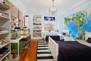 Contemporary Kids Bedroom with PB Teen Capel Cottage Stripe Rug, Crown molding, Built-in bookshelf, Chandelier