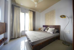 Contemporary Guest Bedroom with Ceiling fan, sandstone floors