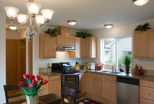 Traditional Kitchen with Slate Tile, L-shaped, flush light, Casement, partial backsplash, limestone tile floors, Chandelier