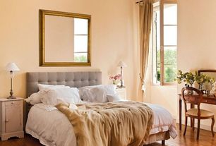 Cottage Guest Bedroom with Amanti Art Colonial Embossed Square Wall Mirror, Hardwood floors