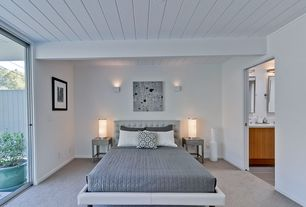 Modern Master Bedroom with Exposed beam, Carpet, Wall sconce